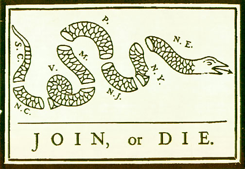 Join, or Die. Benjamin Franklin Cartoon in the Pennsylvania Gazette May 9, 1754.